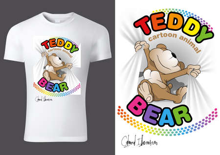 White Child T-shirt Design with Cartoon Teddy Bear Character - Cheerful Unisex Illustration, Vector 免版税图像 - 153094815