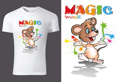 White Child T-shirt Design with Cartoon Mouse Character - Cheerful Unisex Illustration, Vector 矢量图像