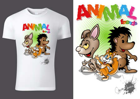 White Child T-shirt Design with Cartoon Animal Characters - Cheerful Unisex Illustration with Rabbit,Hedgehog and Squirrel, Vector 免版税图像 - 153571971