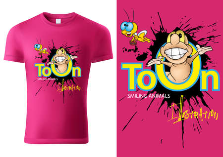 Pink Child T-shirt Design with Cartoon Worm Character - Cheerful Unisex Illustration, Vector
