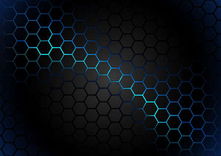 Black Hexagonal Pattern on Blue Magma Background - Abstract Illustration with Glowing Effects, Vector 免版税图像 - 154068380