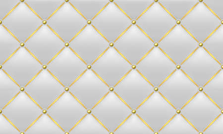The Gold and White Texture of the Leather Quilted Skin - Background Illustration, Vector 免版税图像 - 154742131