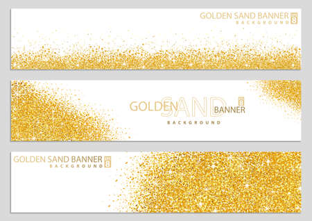 Golden Sand on White Banner Collection - Happy New Year or Merry Christmas or Wedding Template, Four Luxury Illustrations, Vector Design Elements