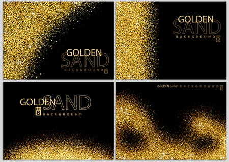 Golden Sand on Black Background Collection - Happy New Year or Merry Christmas Template, Four Luxury Illustrations, Vector Design Elements
