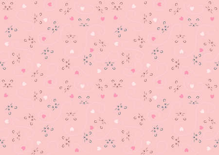 Seamless Baby Pattern with Animal Character and Decorations on Pink Background - Repetitive Print Texture Illustration, Vector Ilustração