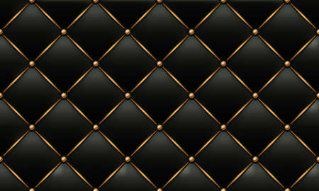 The Gold and Black Texture of the Leather Quilted Skin - Background Illustration