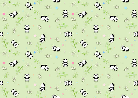 Seamless Baby Pattern with Panda Bear and Green Bamboo Plants - Repetitive Print Texture Illustration, Vector Stock fotó - 155843952