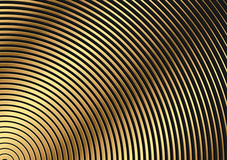 Golden Circular Striped Pattern - Abstract Background Illustration for Your Graphic Design, Vector 矢量图像