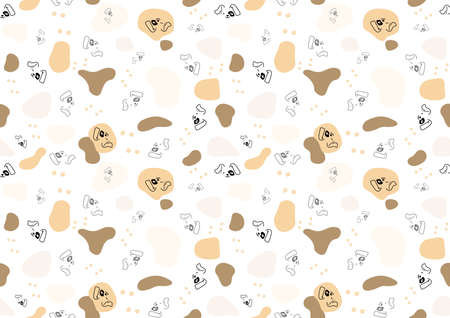 Seamless Baby Pattern with Dog Face and Spots - Repetitive Print Texture Illustration, Vector Stock fotó - 155843954