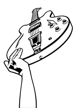 Electric Guitar Overhead - Black and White Drawing, Vector Graphic 免版税图像 - 155097917