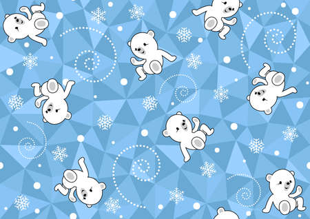 Seamless Baby Pattern with Polar Bear on Blue Polygonal Background - Wintry Repetitive Print Texture, Vector Illustration 免版税图像 - 155843959