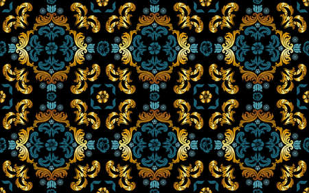 Seamless Floral Pattern in Gold and Blue Tint - Repetitive Texture on Black Background, Vector Illustration 免版税图像 - 155843960