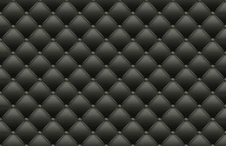 Black Texture of the Leather Quilted Skin - Background Illustration, Vector 免版税图像 - 155125295