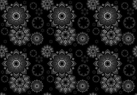 Abstract Seamless Floral Mandala Pattern on Black Background - Repetitive Texture, Vector Illustration 免版税图像 - 155843961