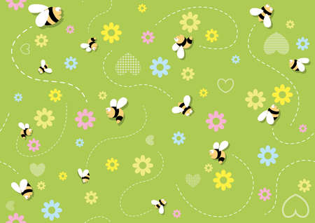 Seamless Baby Pattern with Bees on Green Flowering Background - Repetitive Print Texture, Vector Illustration 免版税图像 - 155843962