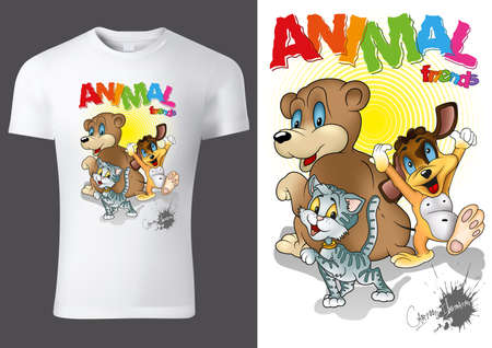 White Child T-shirt Design with Cartoon Animal Characters - Cheerful Unisex Illustration with Bear,Cat and Dog, Vector