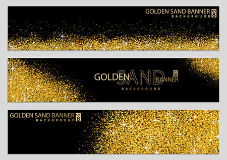 Golden Sand on Black Banner Collection - Happy New Year or Merry Christmas Template, Four Luxury Illustrations, Vector Design Elements 免版税图像 - 155843964