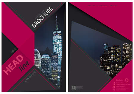 Brochure Graphic Design with Night City - Composition with Modern Geometric Shapes for Your Projects, Vector Illustration 矢量图像