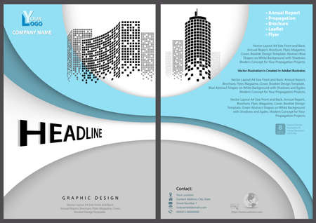 Modern Flyer Template with Geometric Design in Blue Tones - Layered Shapes with Shadows and Imaginary Squared Skyscrapers, Vector 矢量图像