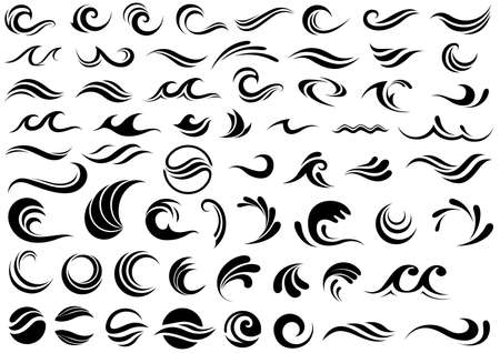 Waves Design Shapes Collection Isolated on White Background - Set of 60 Illustrations, Vector 免版税图像 - 155990241