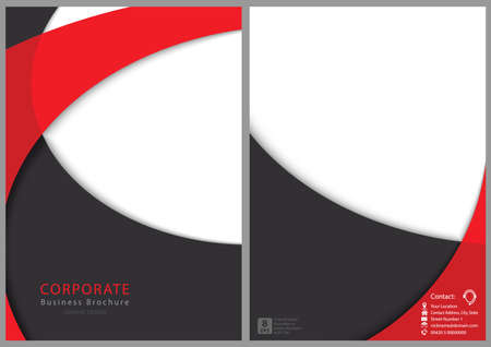 Modern Flyer Template with Curved Shapes - Red and Gray Layered Shapes with Shadows, Vector Illustration 免版税图像 - 155990253