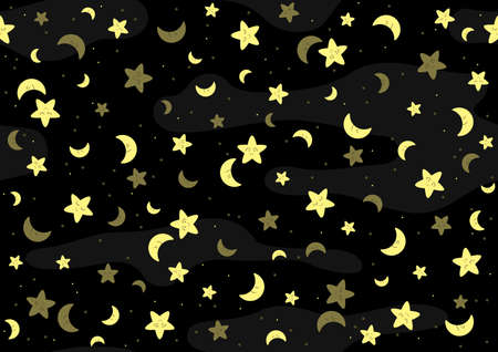 Seamless Baby Pattern with Yellow Stars and Moon and Clouds on Black Background - Repetitive Print Texture in Blue Tones, Vector Illustration