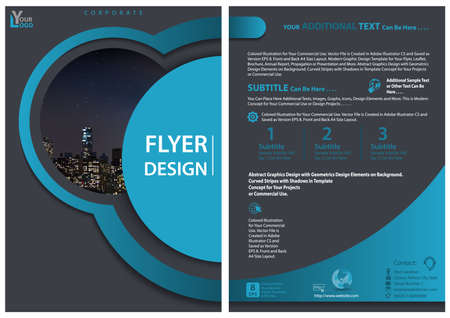 Modern Flyer Template with Geometric Design in Blue Tones - Layered Shapes with Shadows and Imaginary Illustration of Cityscape, Vector