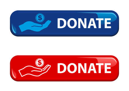 Shiny Donate Button for Your Website Projects in Red and Blue Color - Isolated Illustrations on White Background, Vector 免版税图像 - 156885005
