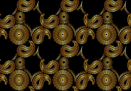 Abstract Seamless Golden Mandala Pattern on Black Background - Colored Repetitive Texture, Vector Illustration 矢量图像