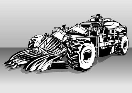 Armored Armed Post Apocalyptic Car - Black and White Illustration of an Off-road Car with Three Weapons, Vector 免版税图像 - 157017428