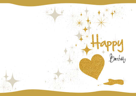 Birthday Card with Gold Glitter and Hearts with Decorative Silver Stars on White Paper Background - Colored Illustration, Vector