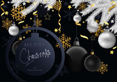 Merry Christmas Greeting Card with Gold and Silver Christmas Ornaments - Black Background Illustration with Silver Spruce Branches and Gold Design Elements, Vector 免版税图像 - 157119015