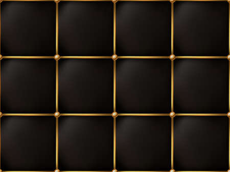 The Gold and Black Texture of the Leather Quilted Skin - Background Illustration, Vector 矢量图像