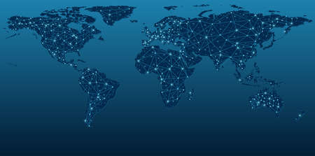 Dark Blue World Map Showing Communication Networks - Abstract Background Illustration, Vector Vettoriali