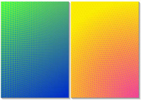 Set of Backgrounds with Halftone Pattern and Colorful Gradient - Two Graphic Designs as Vector Illustration