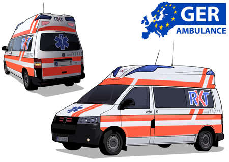 German Ambulance Car in Two Views Isolated on White Background - Colored Illustration, Vector