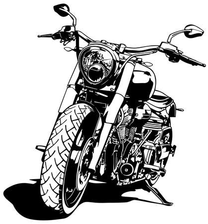 Black and White Motorcycle Drawing Isolated on White Background - Black Illustration, Vector