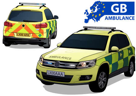 British Ambulance Car in Two Views Isolated on White Background - Colored Illustration, Vector 矢量图像