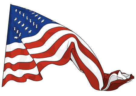Waving American Flag Isolated on White Background - Colored Illustration for Your Design Projects, Vector Graphic 矢量图像