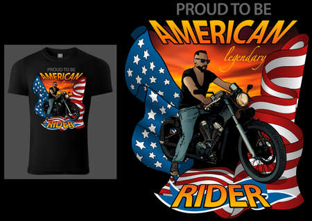 T-shirt Design American Rider with Motorcycle and American Flag on Red Sky - Colored Illustration Isolated on Black Background, Vector 矢量图像