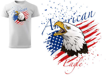 T-shirt Design with Bald Eagle and Torn American Flag - Colored Illustration with Grunge Decoration Isolated on White Background, Vector