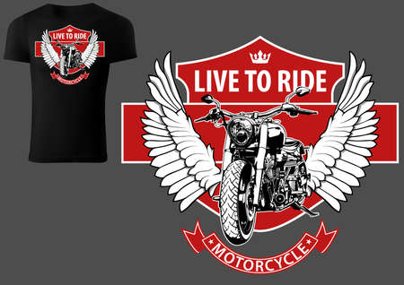 T-shirt Design with Motorcycle and Wings with Red Design Elements - Colored Illustration Isolated on Gray Background, Vector