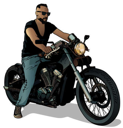 Motorcyclist on Motorcycle Isolated on White Background - Colored Illustration, Vector