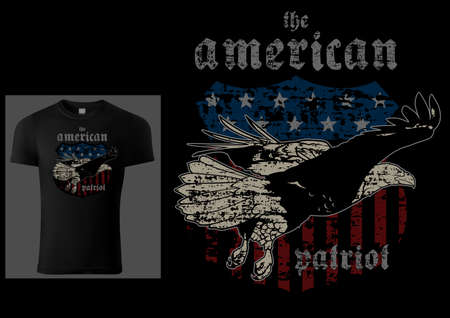 T-shirt Design American Patriot with Bald Eagle and American Flag - Colored Illustration with Grunge Effect Isolated on Black Background, Vector