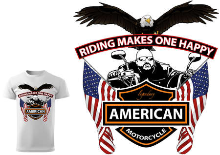 Motorcyclist T-shirt Design with Slogan - Colored Illustration with Bald Eagle and American Flags Isolated on White Background, Vector