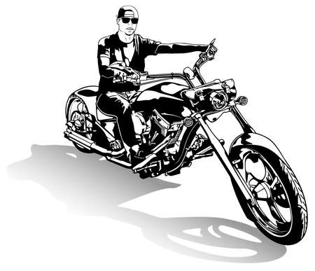Motorcyclist on Chopper Motorcycle - Black and White Drawing Illustration Isolated on White Background, Vector 矢量图像