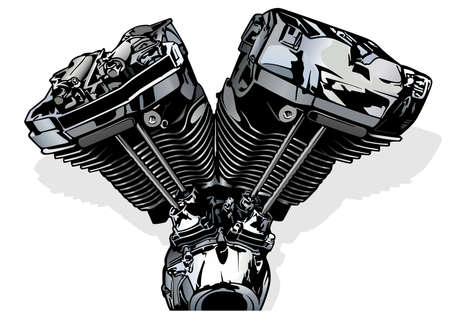 Colored Illustration of a Motorcycle Engine - Picture Isolated on White Background, Vector