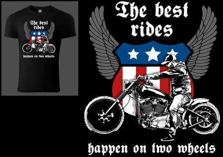 T-shirt Design with Motorcyclist and Slogan - Colored Illustration with Wings and Decoration Isolated on Black Background, Vector 矢量图像