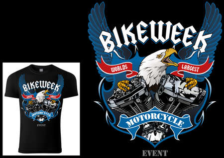 T-shirt Design for Bikers with Eagle and Engine with Decorative Wings and Banners and Texts - Colored Illustration Isolated on White Background, Vector 矢量图像