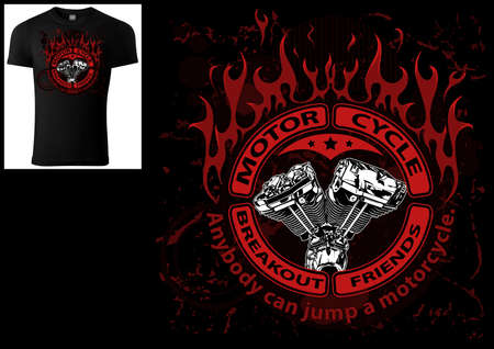 T-shirt Design for Bikers with Engine and Decorative Flames and Banners and Texts - Colored Illustration Isolated on Black Background, Vector 矢量图像